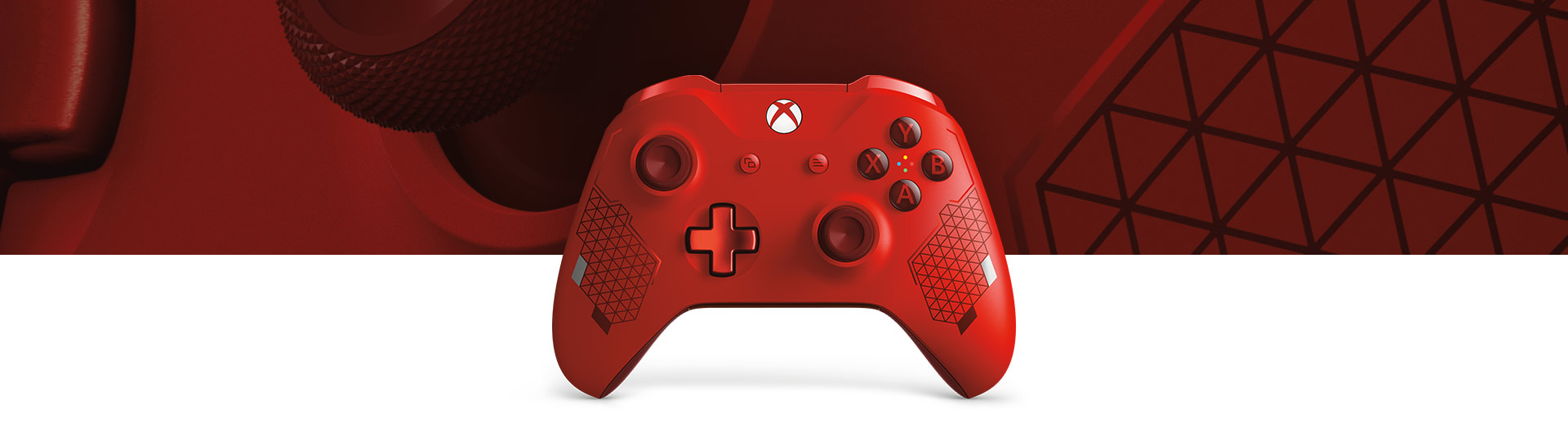 Front view of Xbox Wireless Sport Red controller with a close-up of Sport Red Controller surface texture