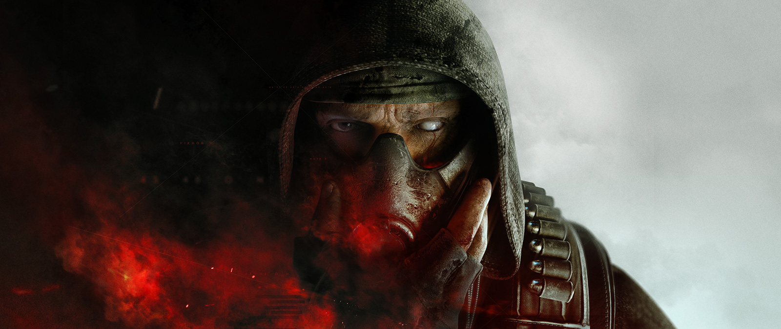 Character wearing a gas mask with red smoke around him with white smoke behind him