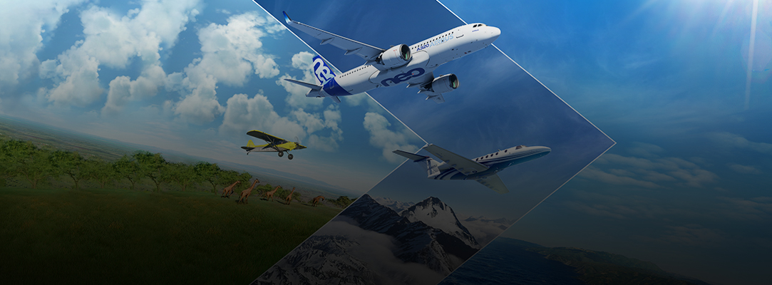 Flugzeuge fliegen durch den Himmel.