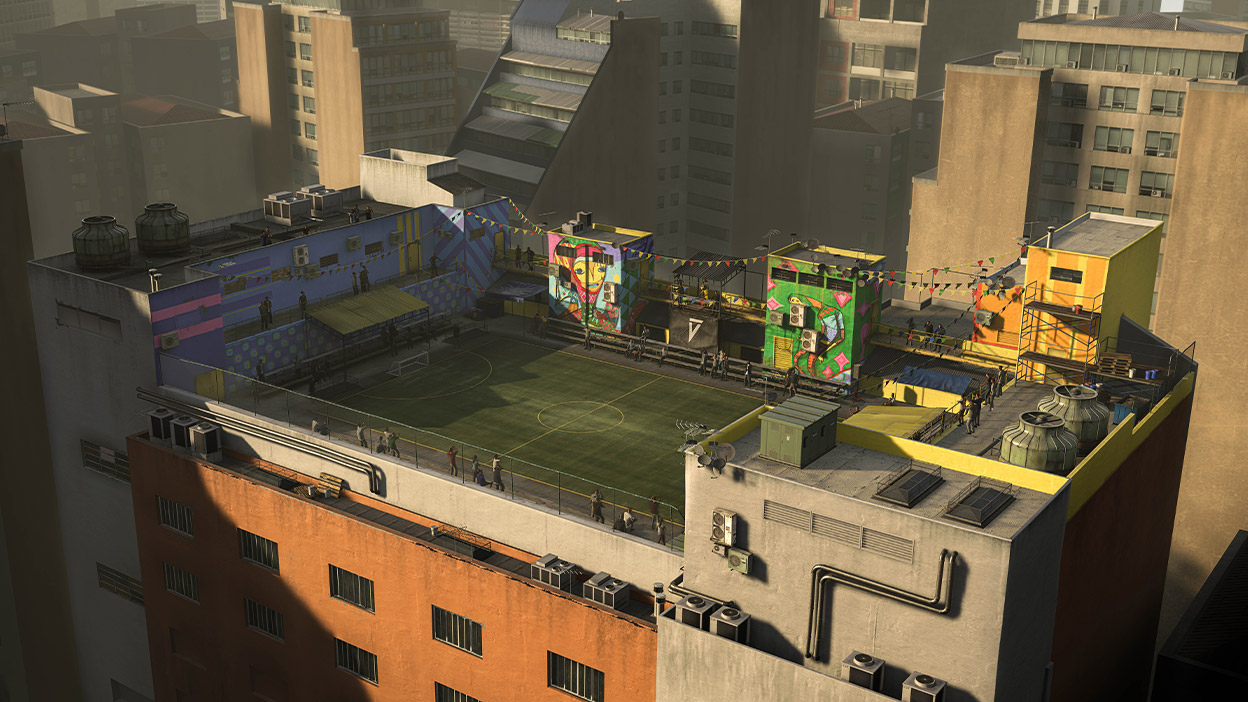 VOLTA Sao Paula Stadium on a building roof in FIFA 21