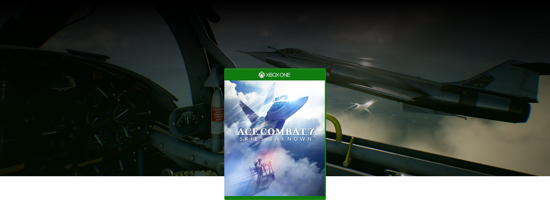 Two jets side by side behind the Ace Combat 7 game box