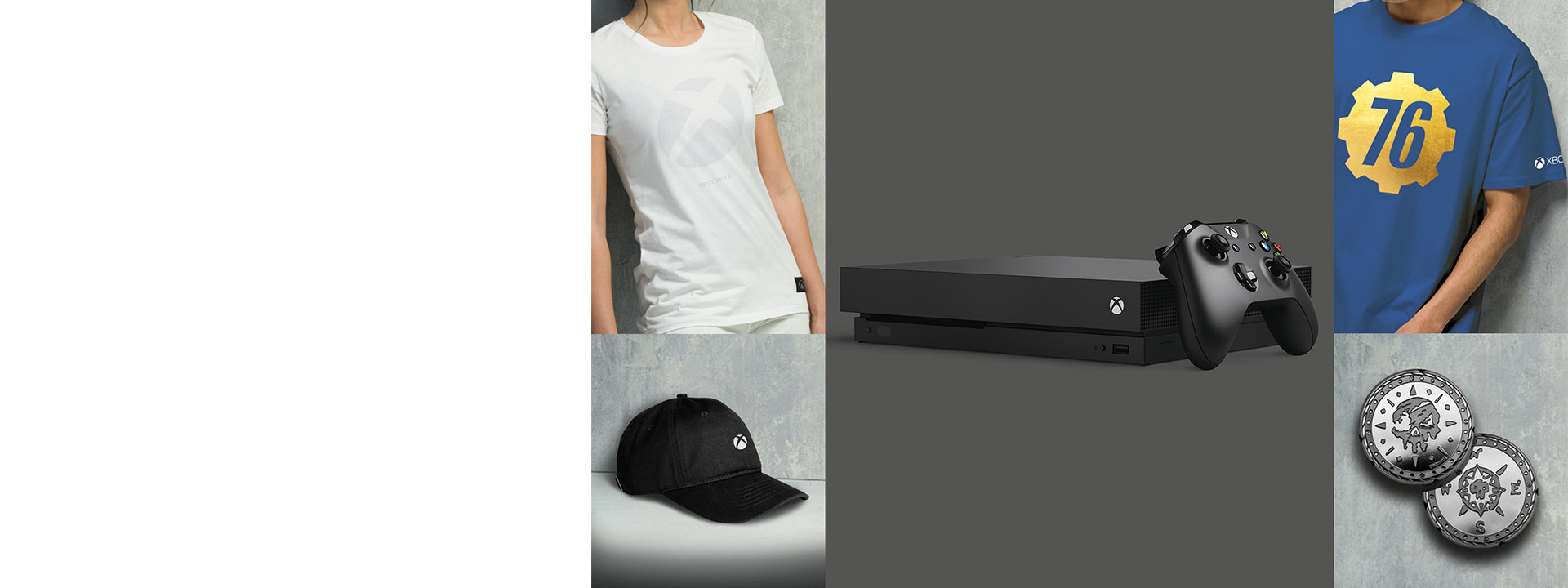 Xbox and Fallout shirts and an Xbox hat around an Xbox One X