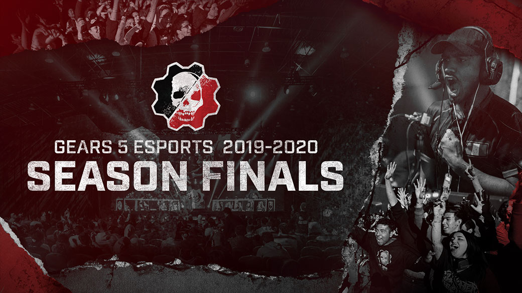 Gears 5 Esports 2019-2020 Season Finals, Gears logo, esports play and fans cheering