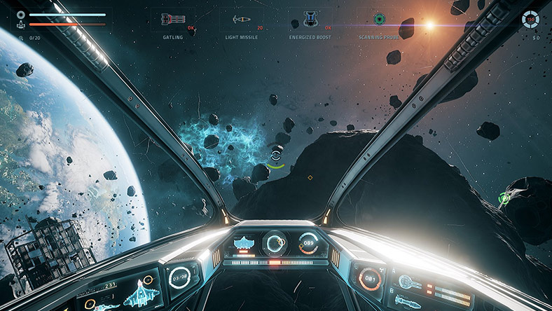 Screenshot of a space fighter game in development