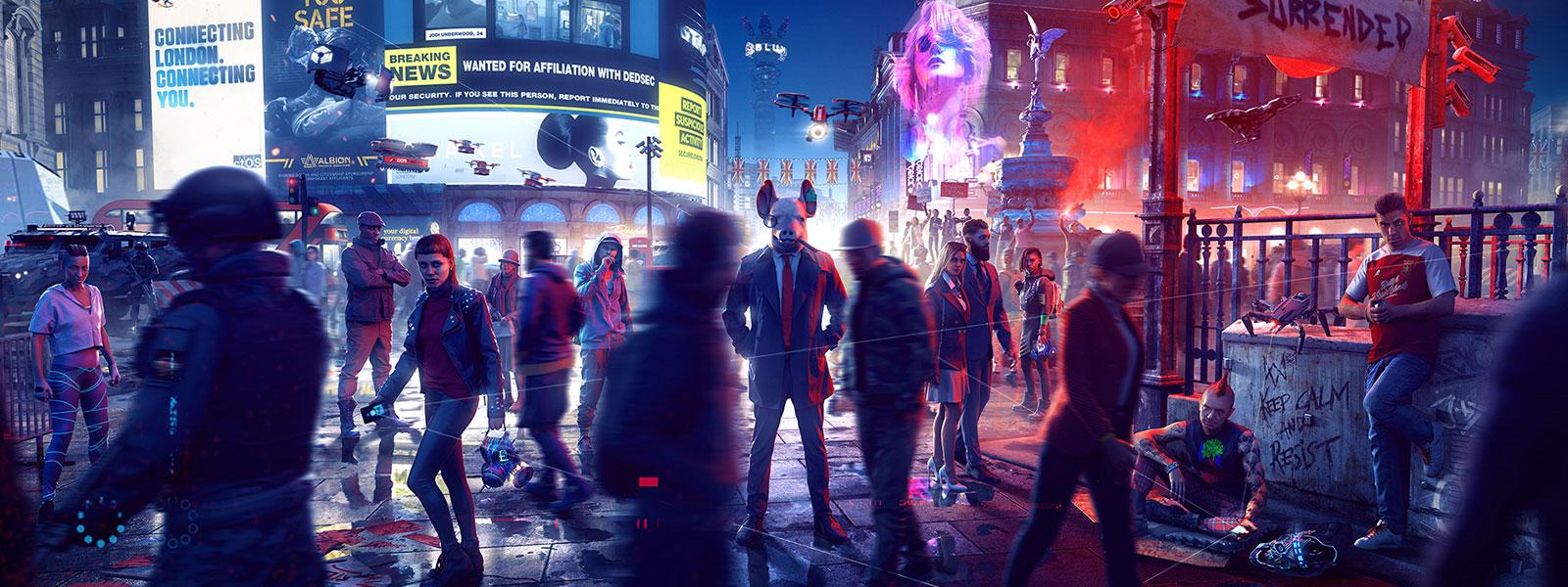 Una persona con una máscara de cerdo y un traje, enfocada, entre una multitud de personas