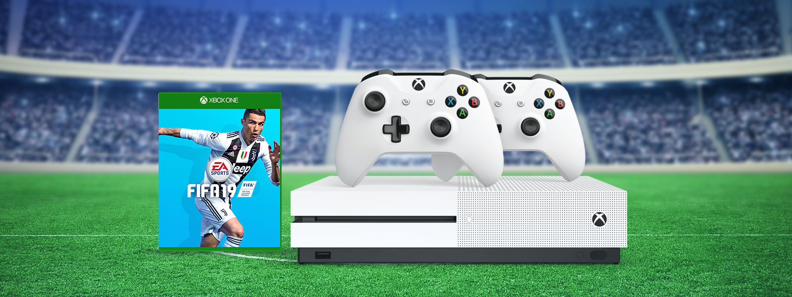 Get an Xbox One S, two controllers, and an additional game like FIFA 19, starting at €XXX