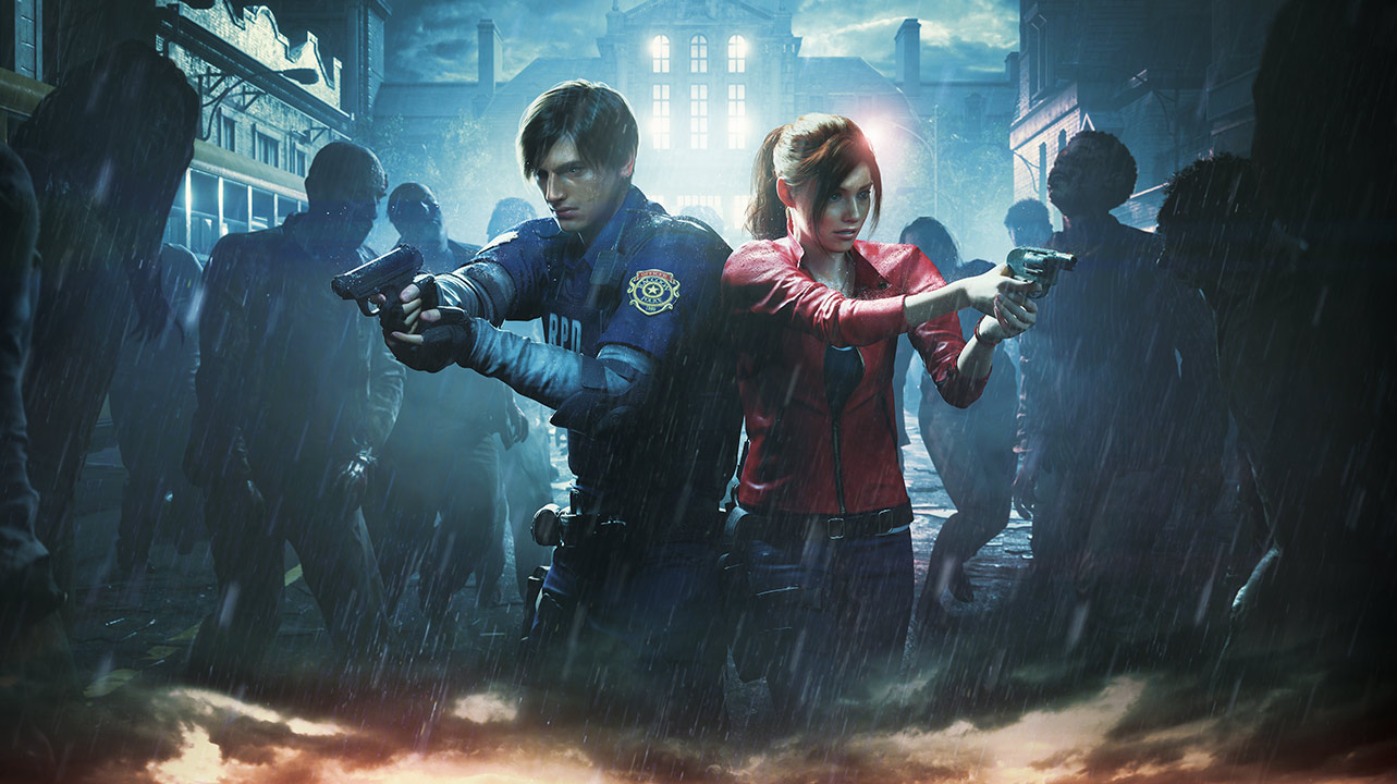 Leon Kennedy e Claire Redfield lado-a-lado a apontarem as armas aos zombies que os rodeiam