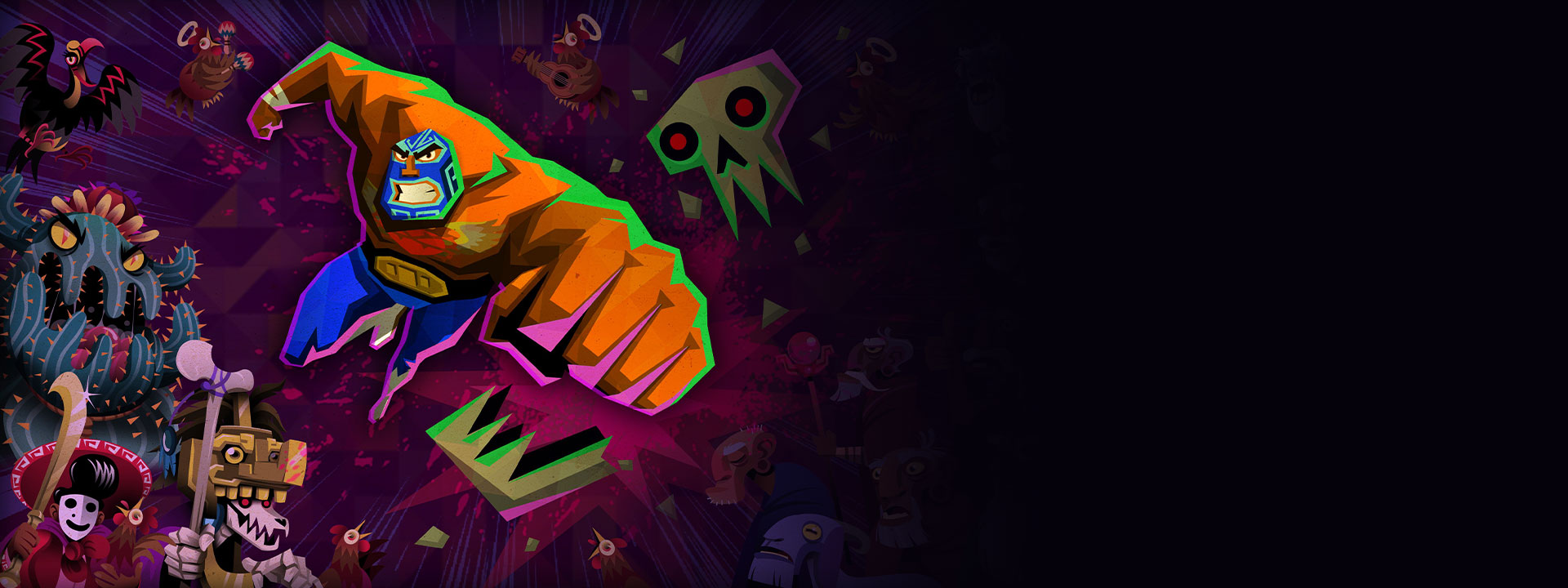 Game graphic from Guacamelee! 2 in front of characters from Guacamelee! 2