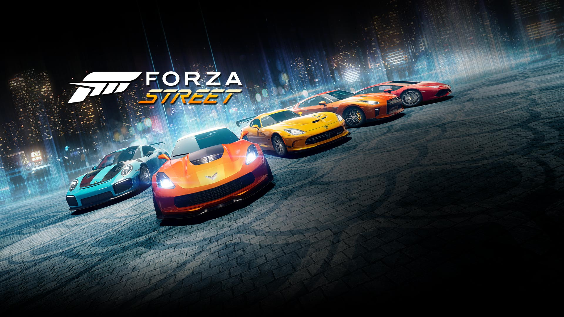 Forza Street, lineup of legendary cars in the background