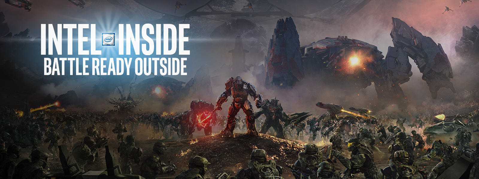 Intel Inside logo, atriox in the middle of a battle scene
