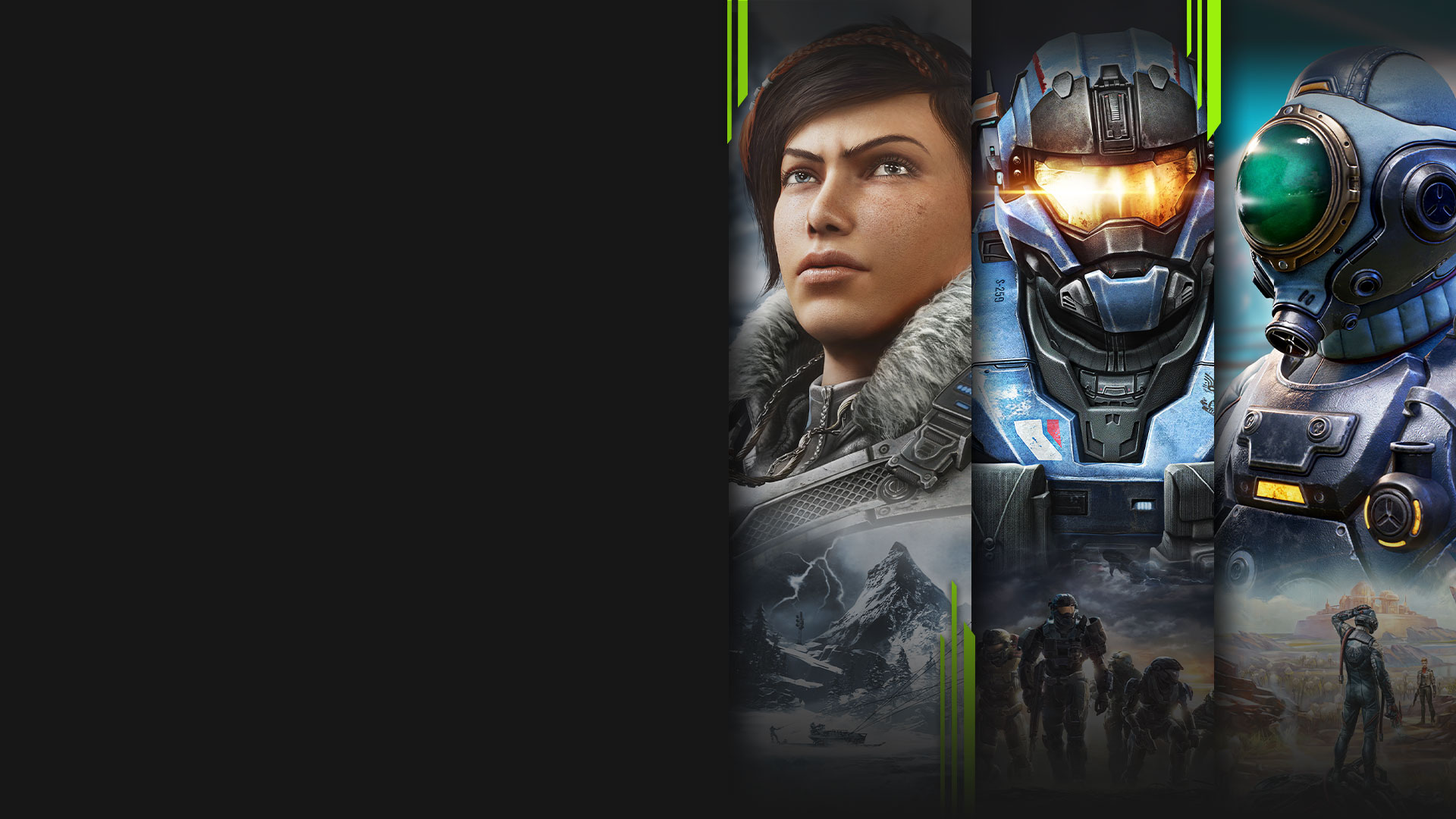 Game art from multiple games available with Xbox Game Pass including Gears 5, Halo: The Master Chief Collection, and The Outer Worlds.