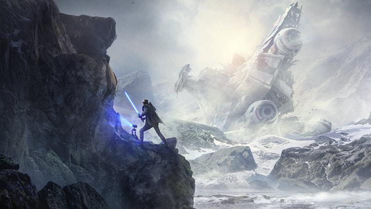 懸崖上,男人拿著光劍,機器人掃描著懸崖側壁上的符號