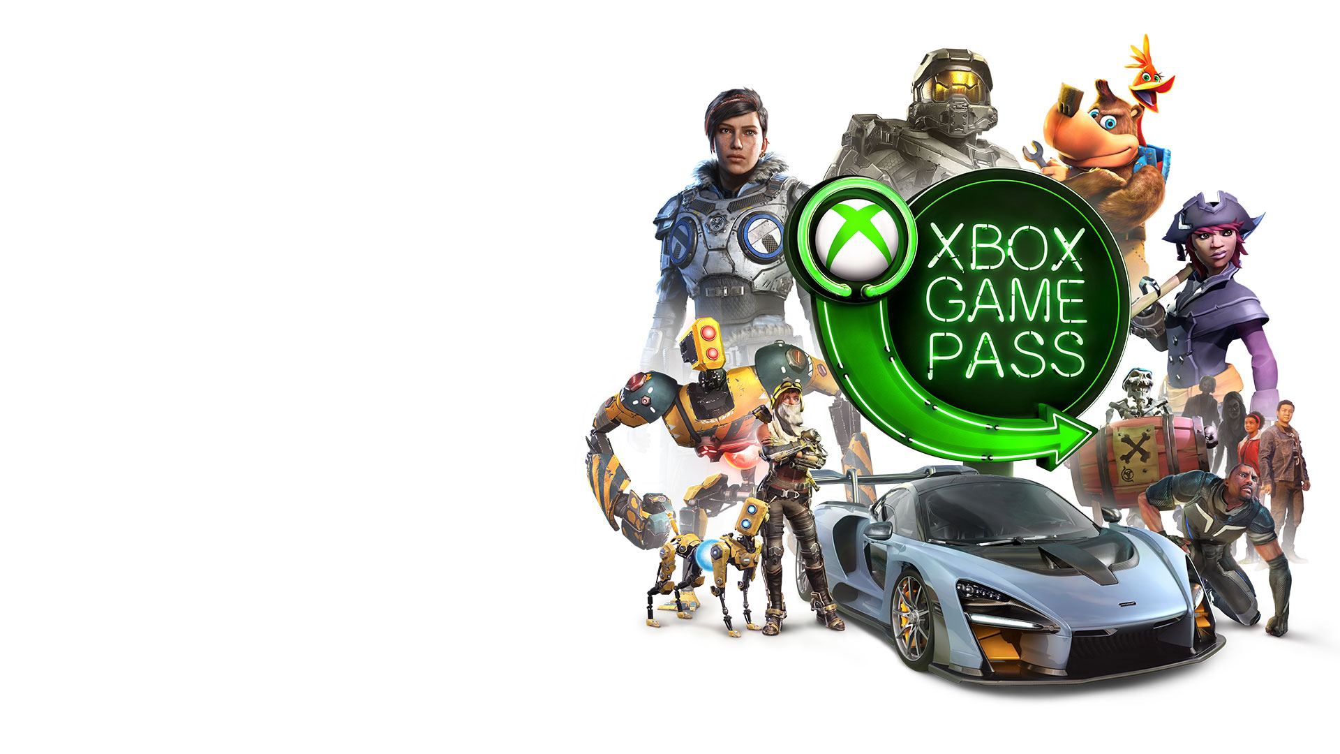 Logo di Xbox Game Pass circondato da personaggi di giochi Xbox come Master Chief, Banjo e Kazooie, Recore e pirati di Sea of Thieves