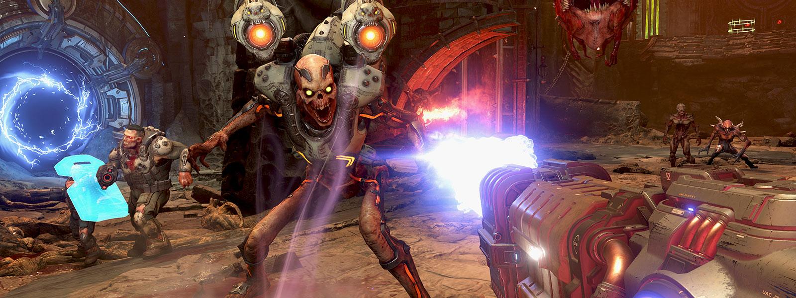 Hráč odbouchne kostru démona pistolí.