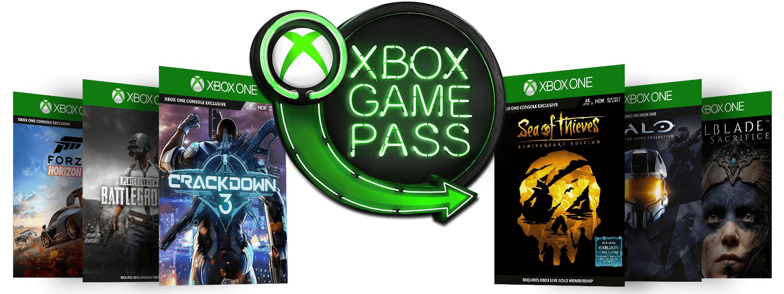 Neon Xbox Game Pass-Logo umgeben von der Verpackung für Forza Horizon 4, PlayerUnknown Battleground, Crackdown 3, Sea of Thieves Anniversary Edition, Halo und Hellbade: Senua's Sacrifice