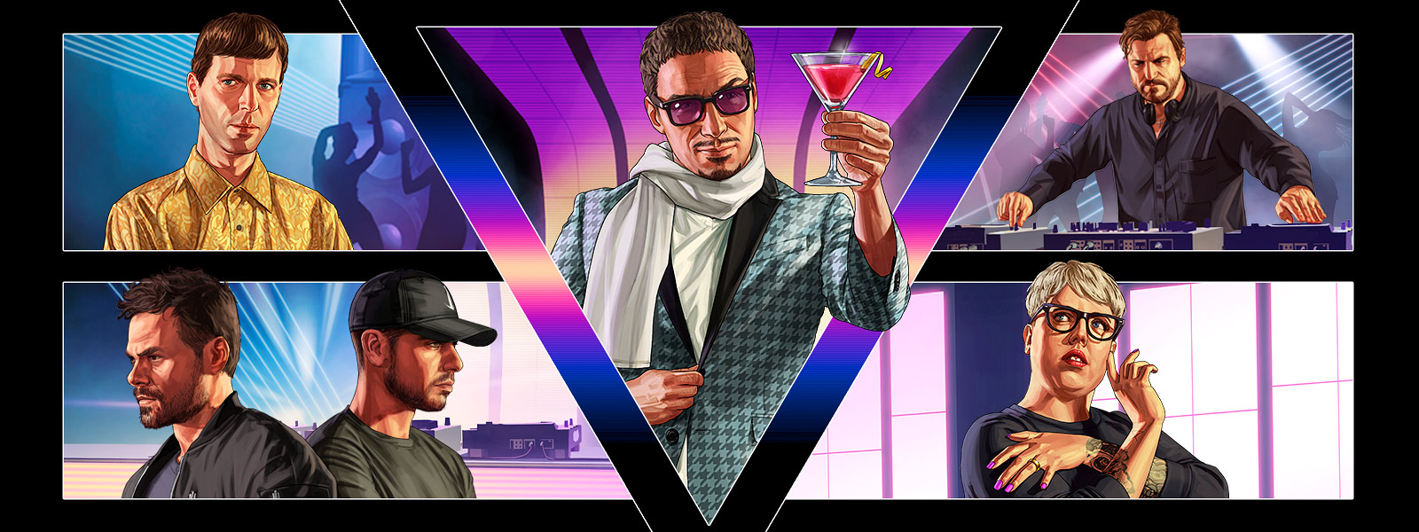 Grand Theft Auto Online After Hours, collage van meerdere personages in een nachtclub