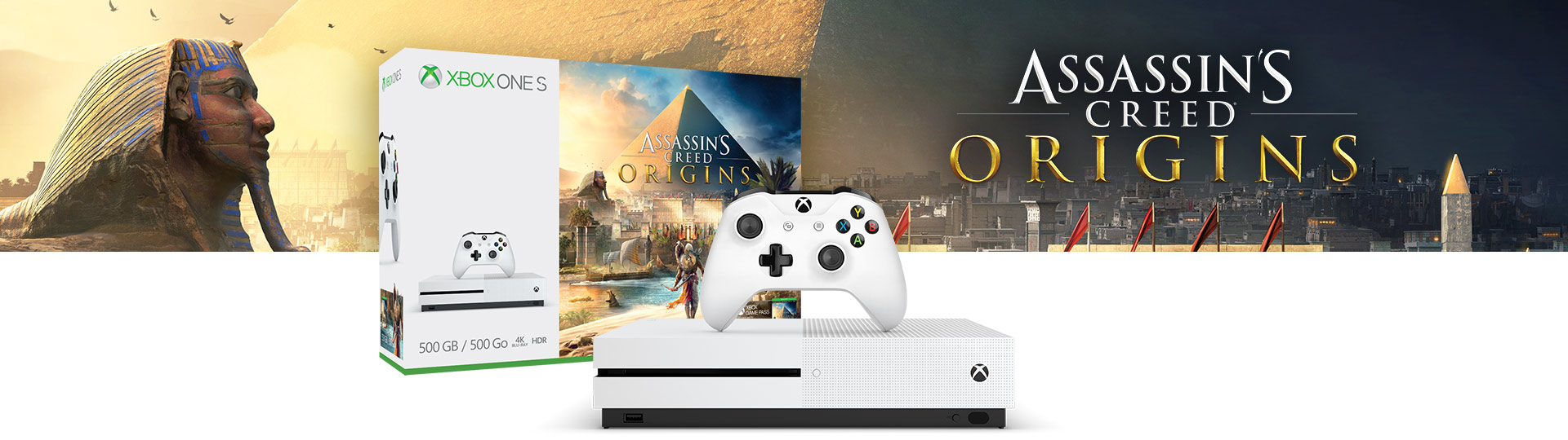 Pack Xbox One S (500 Go) +  Assassin's Creed : Origins