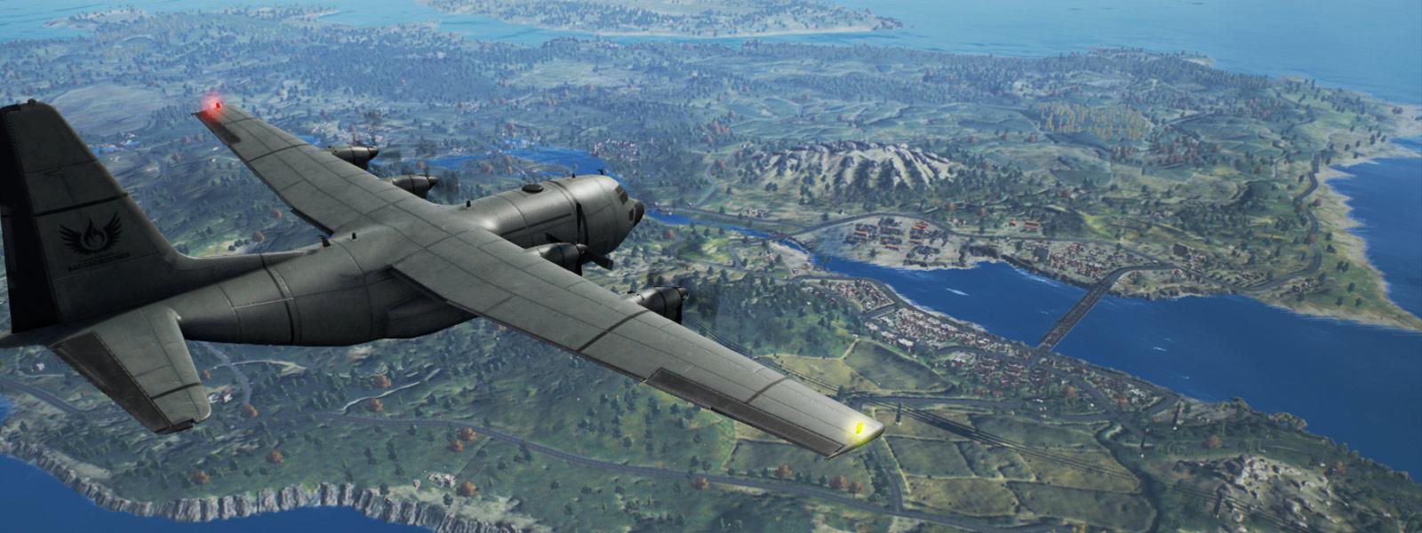 Fly, der flyver over en kæmpestor fjern ø