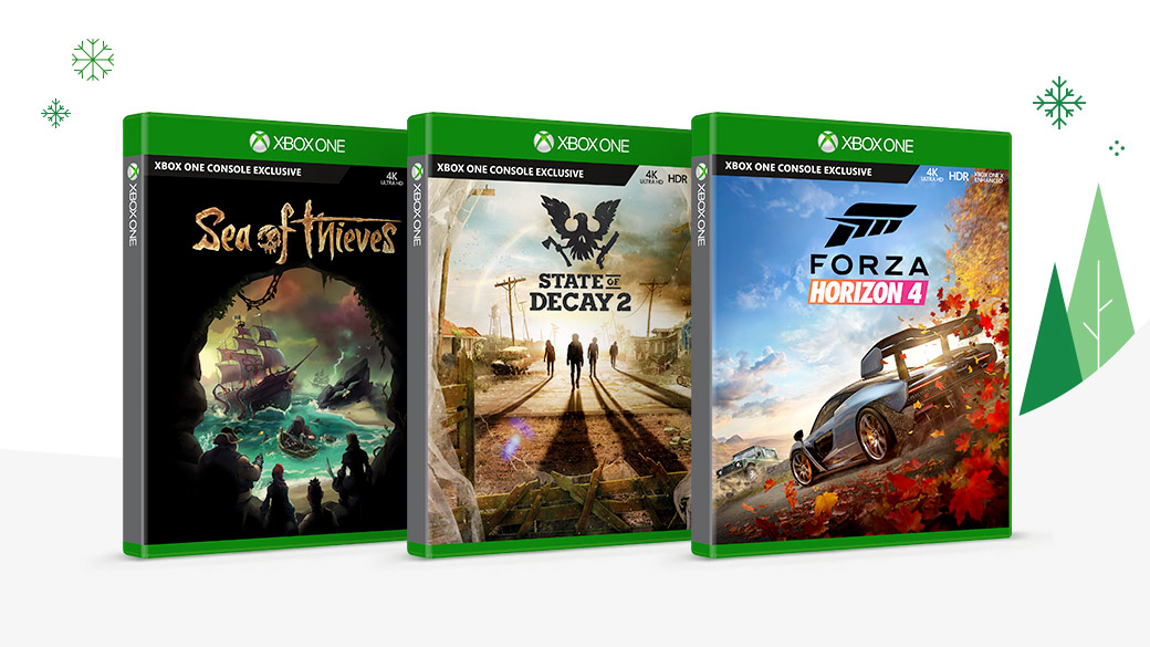 Disc box shots of Sea of Thieves, State of Decay 2 and Forza Horizon 4