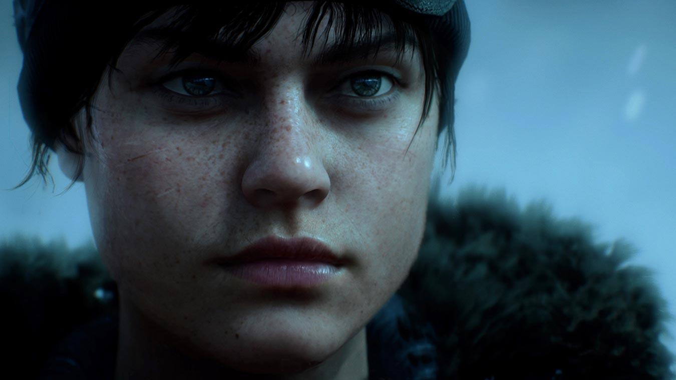 Cara de una mujer soldado