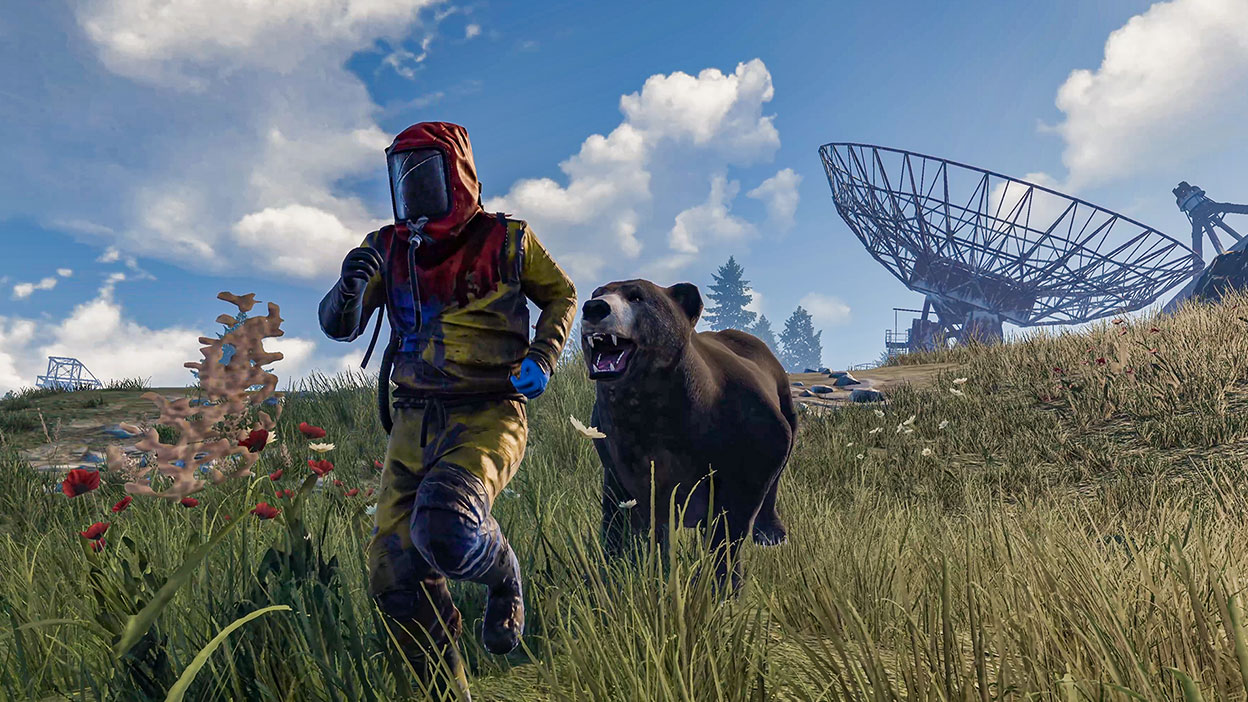 Character being chased by a bear in a grassy field with a satellite in the back.