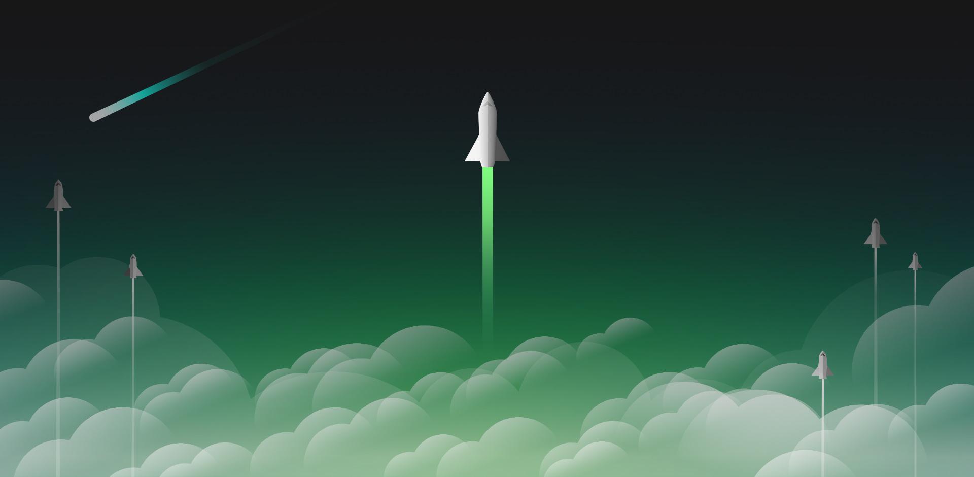 雲の切れ間から空に向かって飛んでいるいくつかのロケット船