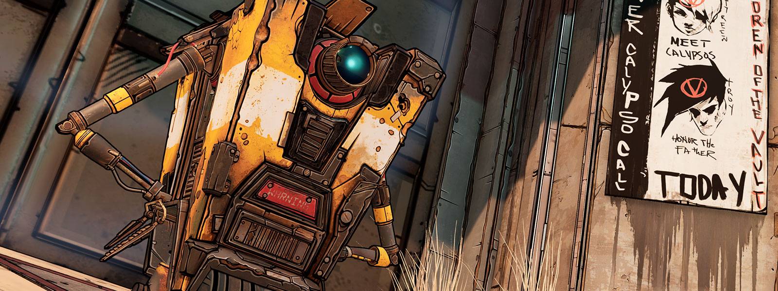 Claptrap stands in front of a large door next to a sign on a wall
