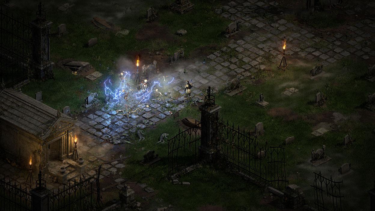 Un personnage maniant la magie électrocute un groupe de squelettes.