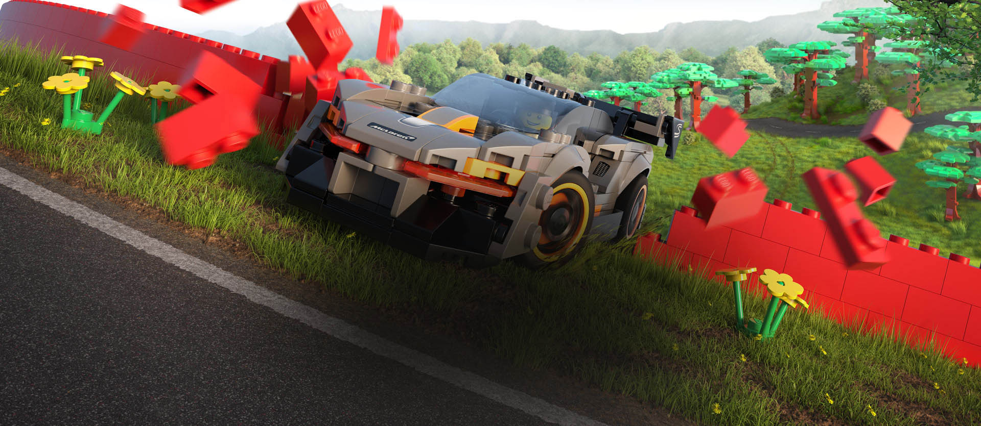 Forza horizon 4 with McLaren bursting through a red LEGO brick wall.