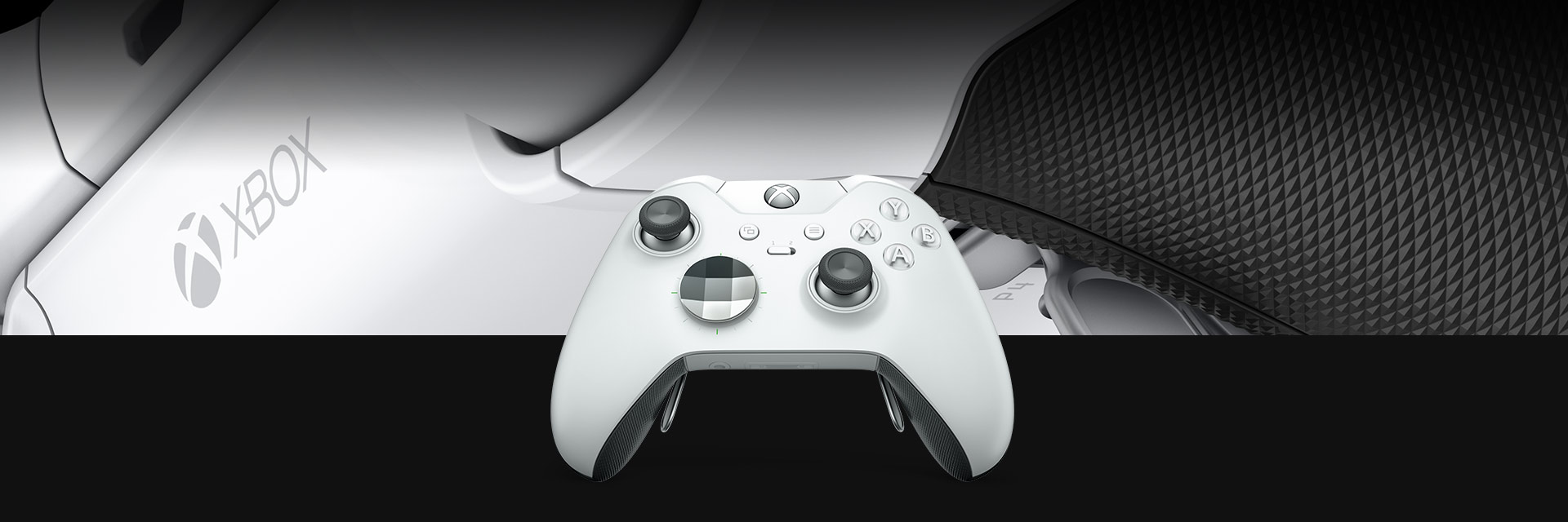 Front view of the Xbox One White Elite Wireless Controller