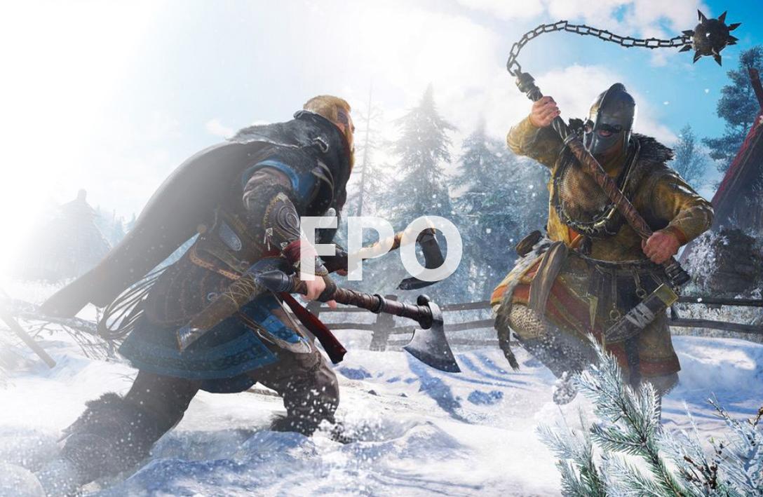Assassin's Creed Valhalla. Eivor pelea contra un enemigo que empuña una maza.