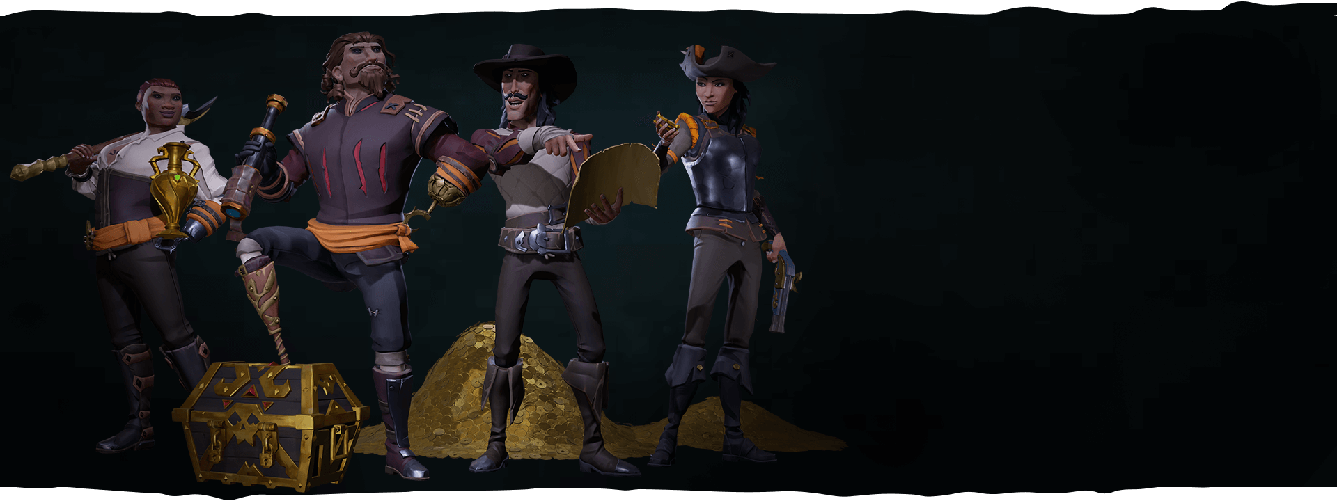 Four Fortune Hunter characters posing with stacks of coins and a treasure chest
