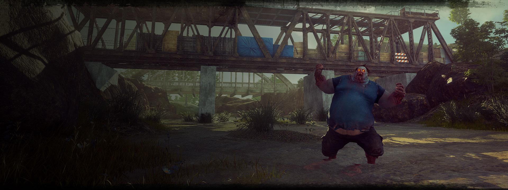 Ο Juggernaut από το State of Decay 2: O Juggernaut φωνάζει μπροστά σε μια γέφυρα