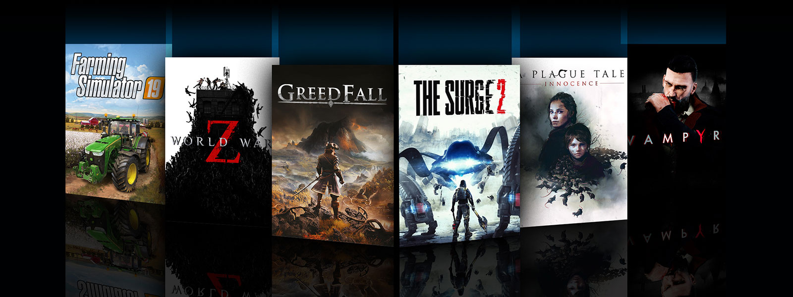 A collage of box art for Xbox One games on sale. Farming Simulator 19, World War Z, Greedfall, The Surge 2, A Plague Tale: Innocence, and Vampyr.
