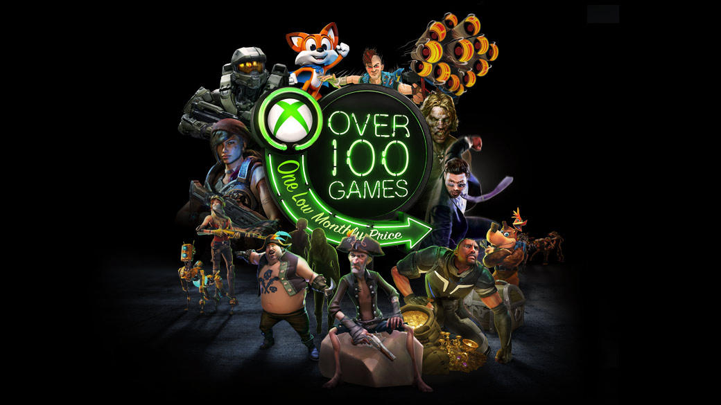 Personajes de Super Lucky's tale, Sunset Overdrive, Dead Island, Saints Row, Crackdown 3, Sea of Thieves, Recore y Gears of War 4 alrededor del logotipo de Más de 100 juegos en neón