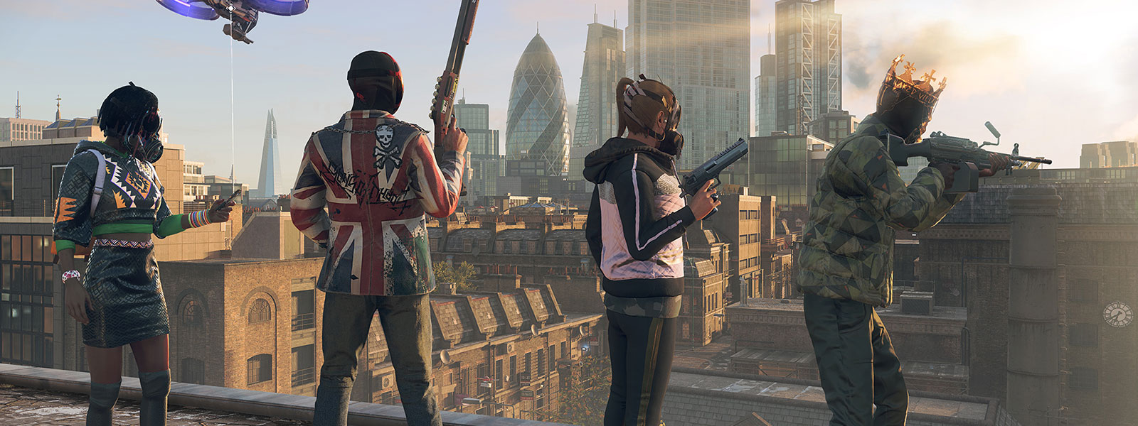 Characters lined up on a roof with masks and weapons at the ready looking towards a city