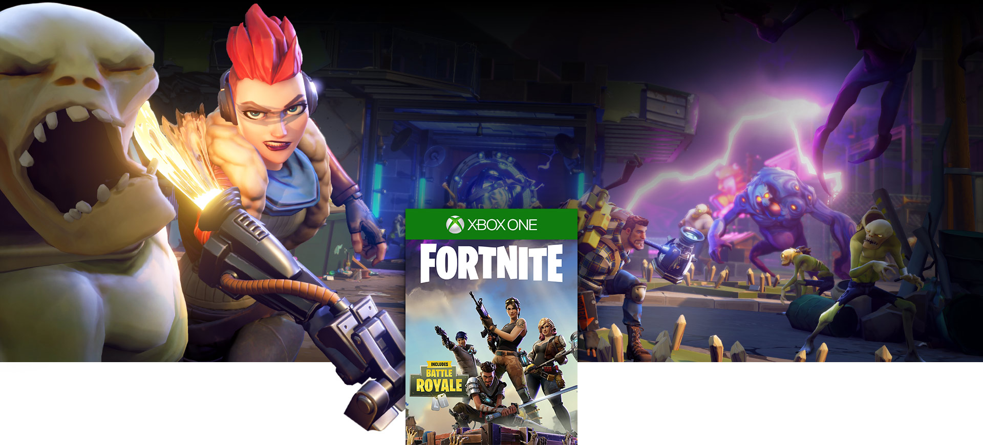 Fortnite boxshot, A female character punches a monster in the face
