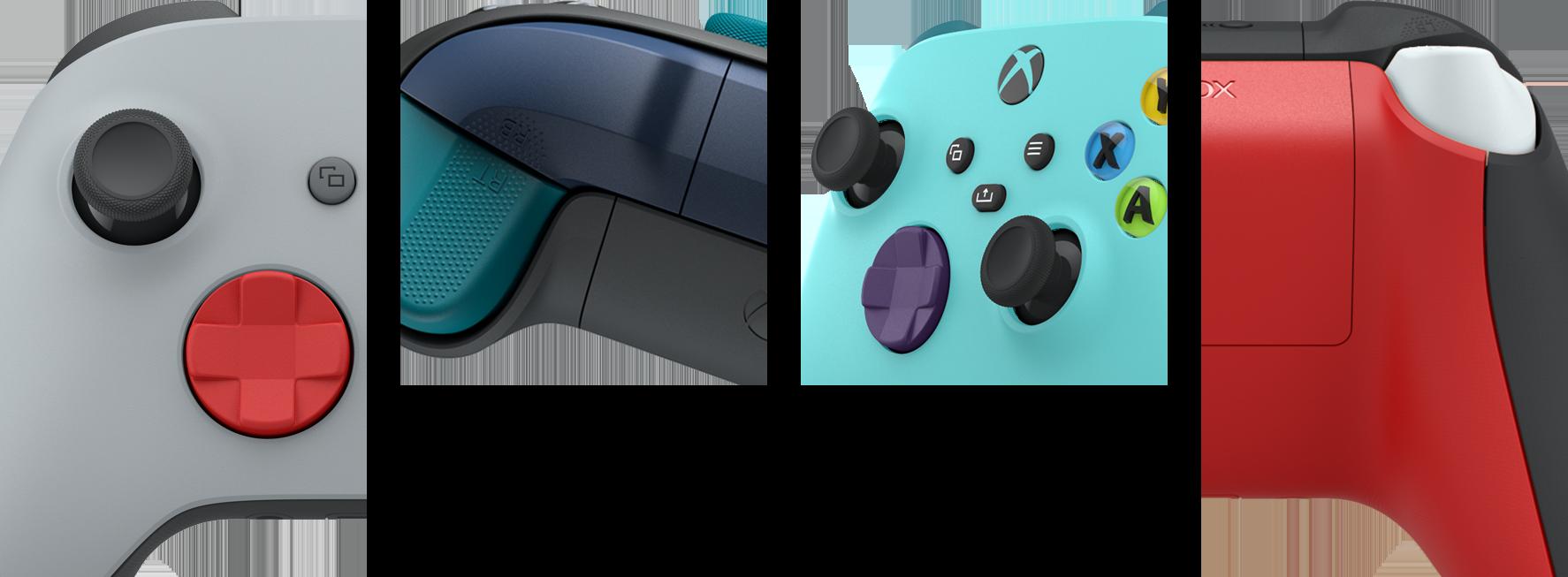 Mosaik af nærbilleder af Xbox-controlleren fra forskellige vinkler