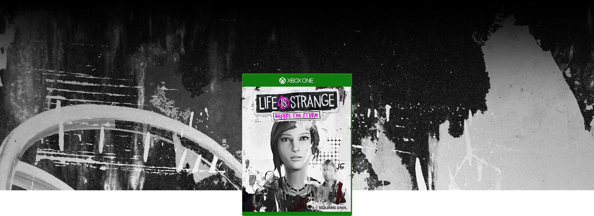Imagen de la caja de Life is Strange: Before the Storm. Collage rayado en el fondo