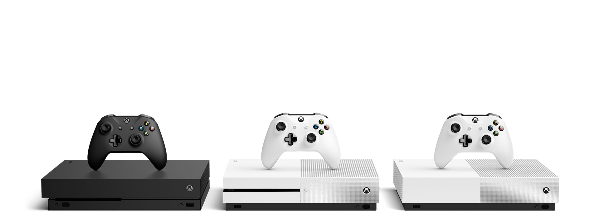An Xbox One X console, Xbox One S console, and an Xbox One X All Digital console on a white background