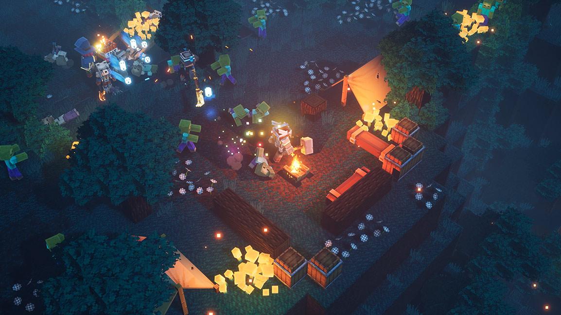 Personagens de Minecraft lutam contra creepers em uma fogueira em uma floresta