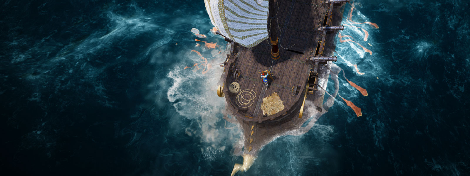 aerial view of ship exploring the huge open world