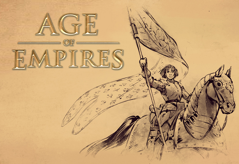 Age of Empires. An ink drawing of a woman in medieval armor riding an armored horse, raising a banner.