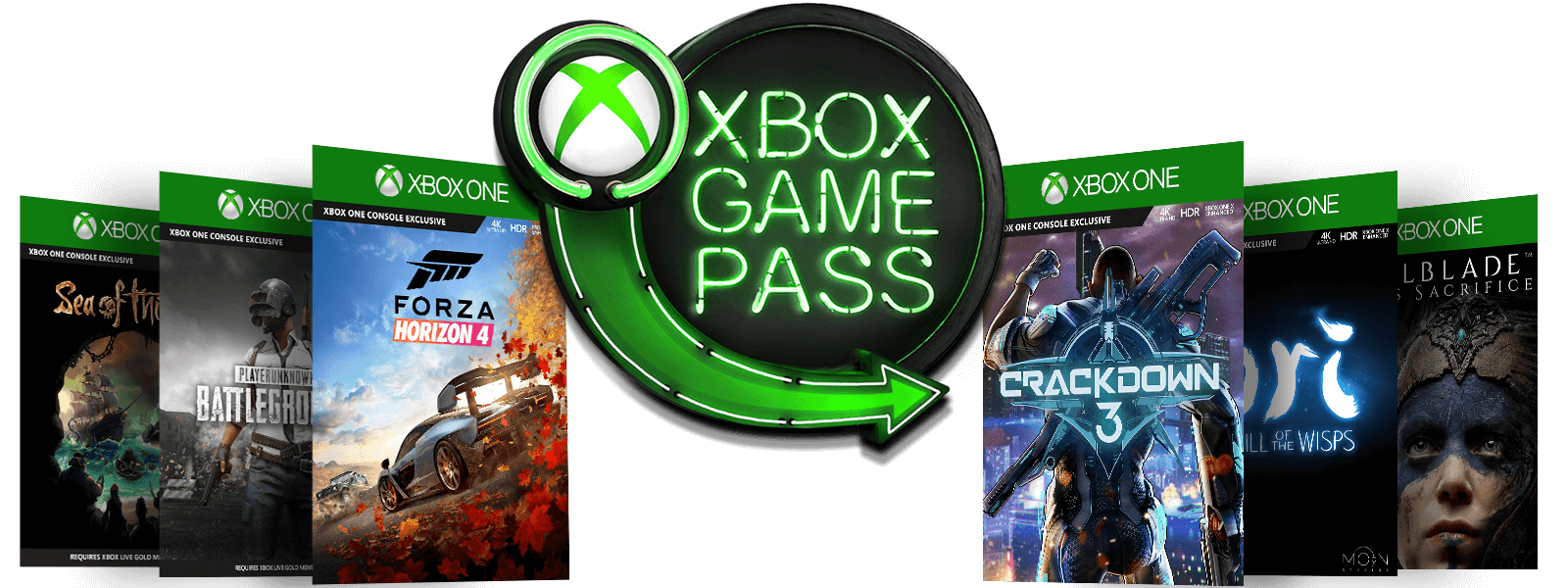Xbox Game Pass neon sign with Xbox sphere logo and green arrow surrounded by six games: Sea of Thieves, PLAYERUNKNOWN'S BATTLEGROUND, Forza Horizon 4, Crackdown 3, Ori and the Will of the Wisps, and Hellblade: Senua's Sacrifice