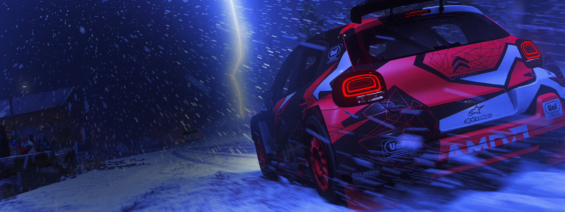 Citroën hatchback with spoiler from DIRT 5 driving in the snow
