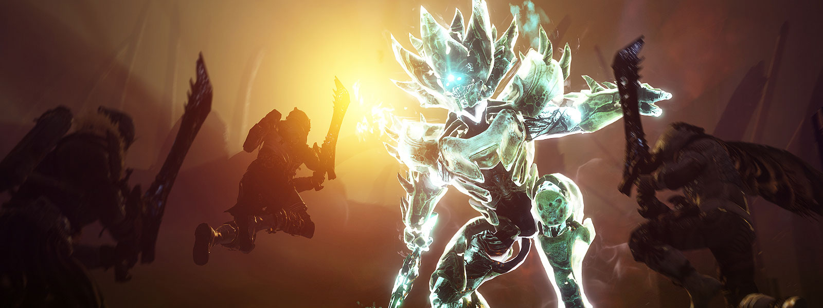 Character in glowing armour fighting three enemies