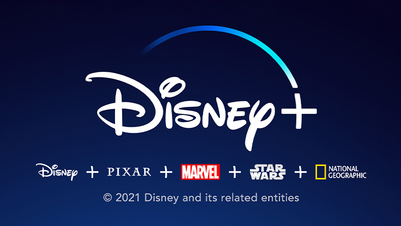 Disney+: Disney+ logo with the Disney, Pixar, Marvel, Star Wars, and National Geographic logos below, Copyright symbol, 2021 Disney and its related entities.