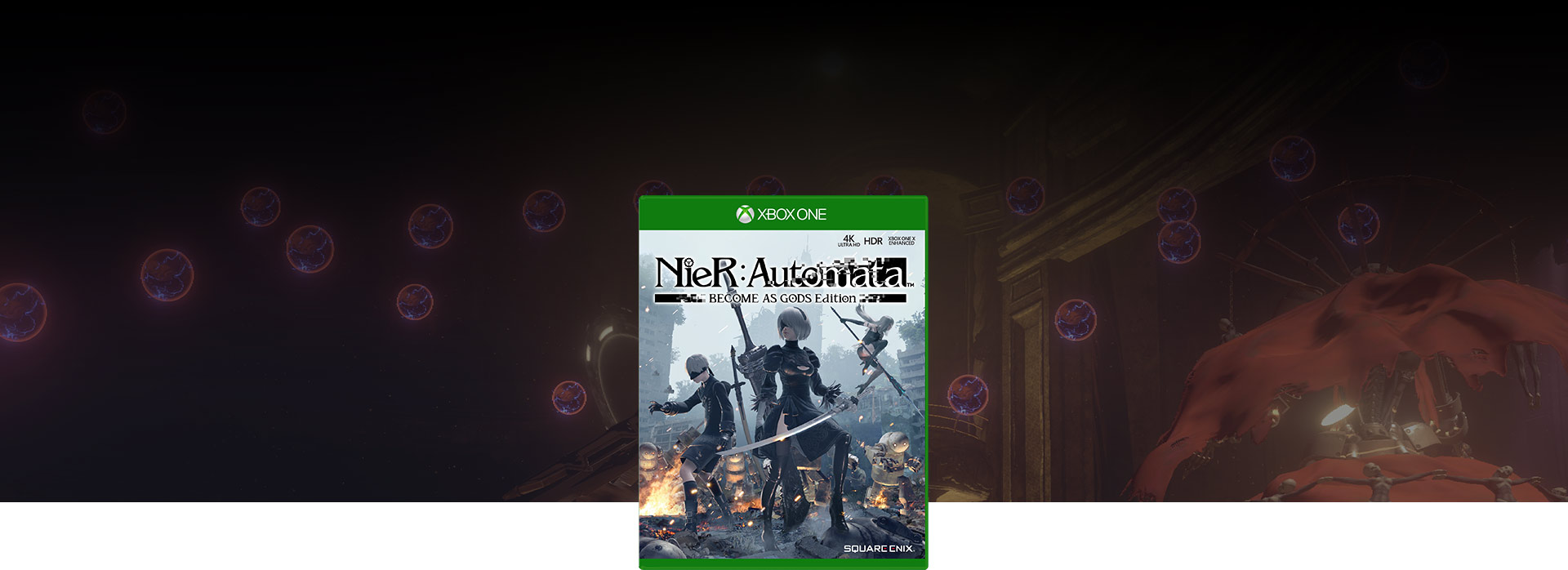 Nier Automata BECOME AS GODS Edition boxshot, Background of electric bubbles