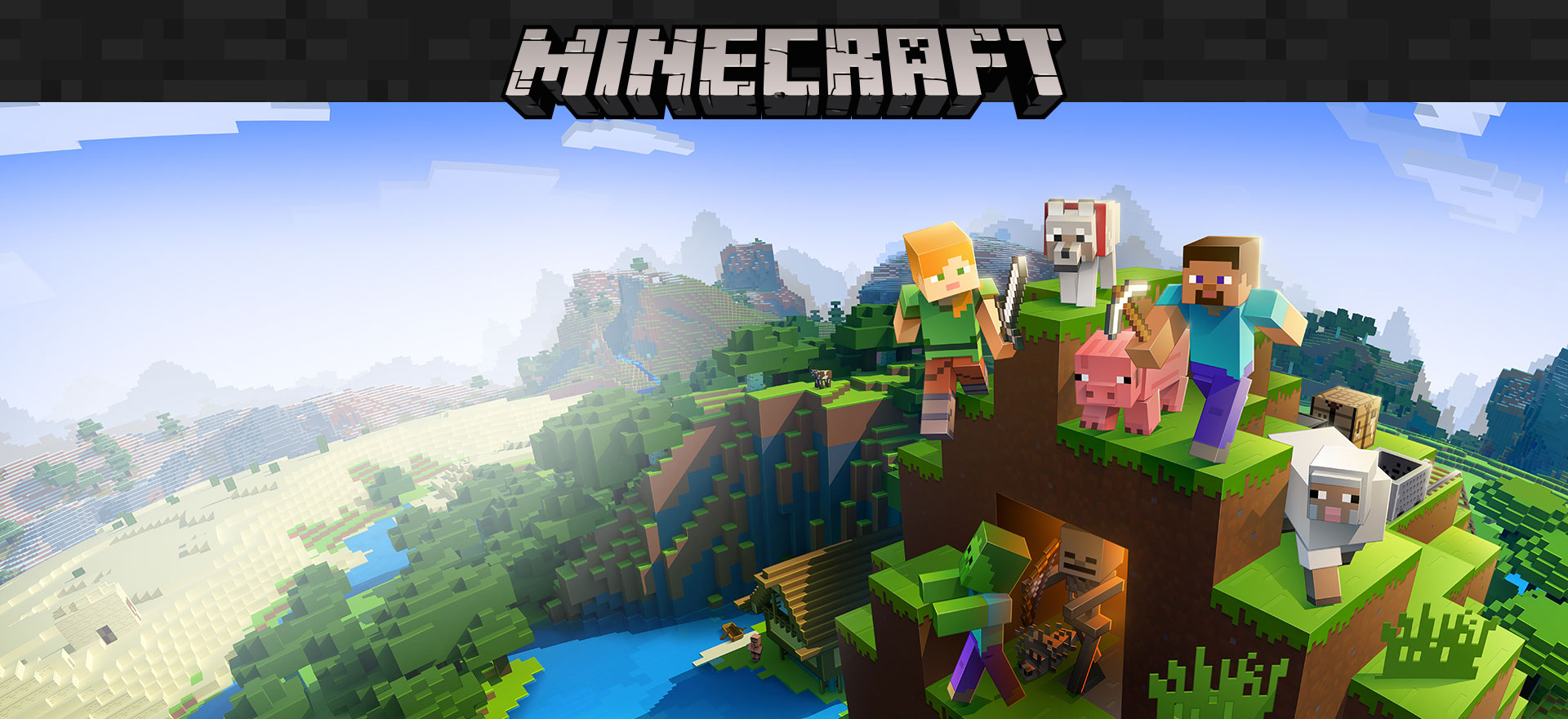 Logotipo de Minecraft con personajes del juego en un entorno de bloque en el fondo