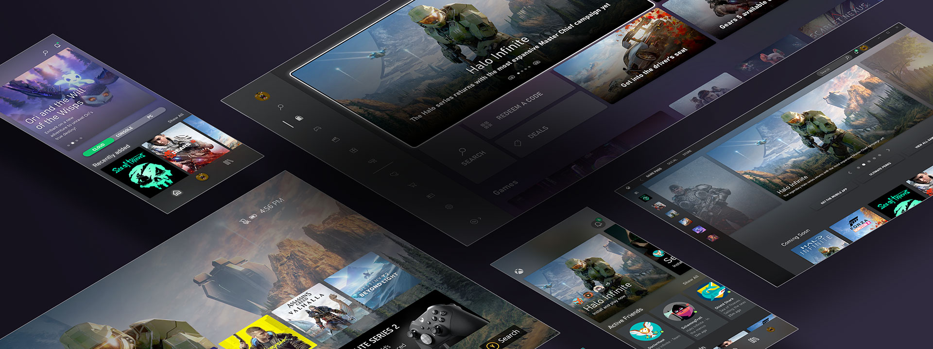 A collection of screenshots showcasing the Xbox experience across devices.